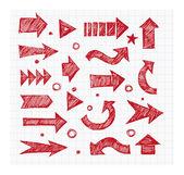 Red pen sketch arrows — Stock Vector