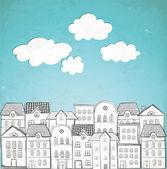 Hus och blå himmel. — Stockvektor