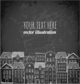 Card with city, houses and sky — Stockvektor