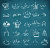 Sketches of vintage crowns — Stok Vektör
