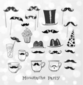 Moustache party objects. — Stock Vector