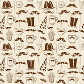 Mustache party seamless background — Stock Vector