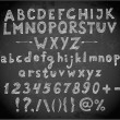 Doodle sketch font on blackboard — Stock Vector #50402453