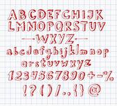 Doodle sketch font — Stock Vector