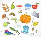Set of autumn elements — Stock Vector