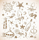 Set of sea sketch objects — Stock Vector