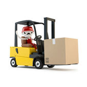 Forklift driver with the cargo — Stock Photo