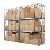 Beyaz arka plan üzerinde izole kutuları ile metal raflar — Stok fotoğraf