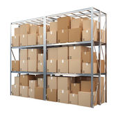 Metal racks with boxes isolated on white background — Stok fotoğraf