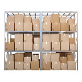 Metal racks with boxes isolated on white background — Stock Photo