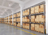 3d rendered warehouse with many racks and boxes — Stock Photo