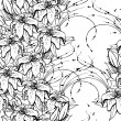 Seamless black and white pattern with lilies — Stockvectorbeeld