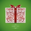 Template with decorative gift box — Stockvectorbeeld