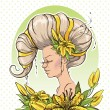 Woman with yellow lilies — Stock Vector