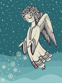 ángel con copos de nieve — Vector de stock