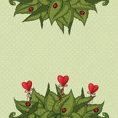 Fundo com folhas e corações — Vetorial Stock