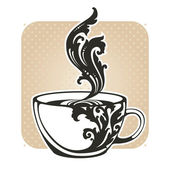 Vintage cup with hot drink — Stock Vector