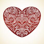 Abstraktní dekorativní květinové srdce — Stock vektor