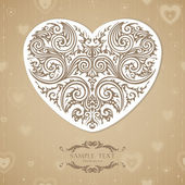 Vintage template with decorative heart — Stock Vector