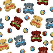 Seamless background with teddy bears and balls — Stock Vector