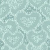 Naadloze patroon met hart bekleed met sneeuwvlokken — Stockvector