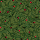 Seamless pattern with leaves and ladybirds — Stock Vector