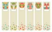 Set of vintage bookmarks with owls — Stock Vector