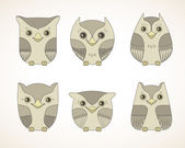 Vintage set of owls — Stock Vector