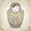Ornamental doll on patterned background — Imagen vectorial