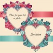 Two heart frames with ribbons and flowers — Imagen vectorial