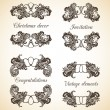 Vector set of vintage decorative ornamental elements — Stock Vector
