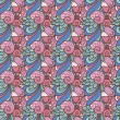 Abstract decorative seamless pattern with flowers and hearts — Imagens vectoriais em stock