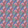 Abstract decorative seamless pattern with flowers and hearts — Stock vektor