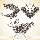 Decorative ornamental foxes — Stock Vector