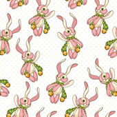 Seamless background with bunnies — Stock Vector