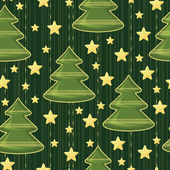 Background with Christmas trees and stars — Stock Vector