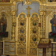 Icons and altar in orthodox church — Stock Photo