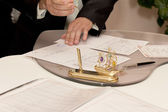 Groom Signing Marriage Certificate — Stock Photo