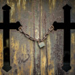Locked crosses tomb door texture — Stock Photo
