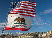 US and California state flags — Stock Photo