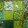 Stock Photo: Assorted green beads