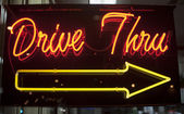 Drive thru neon sign — Stock Photo