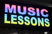 Music lessons sign — Stock Photo