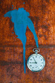 Pocket watch on rusty background — Stock Photo