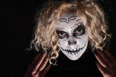Demonic sugar skull woman — Stock Photo