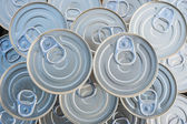 Canned goods stacked — Stock Photo
