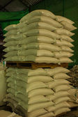 Arrangement with lots of fertilizer sacks. — Stock Photo