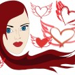 Girl with hearts and rock wings — Stock Vector