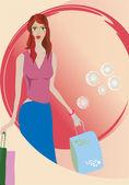 Girl on shopping — Stock Vector