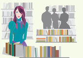 Woman in Bookstore — Stock Vector